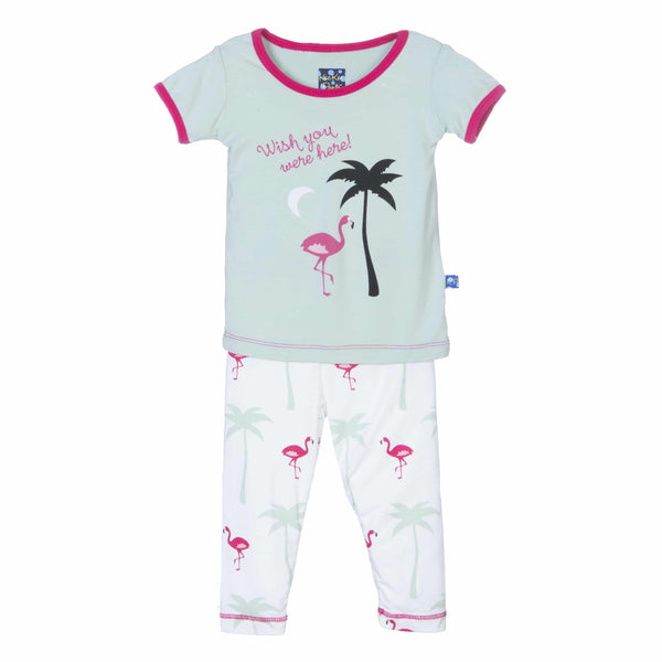 Natural Flamingo Short Sleeve Pajama Set