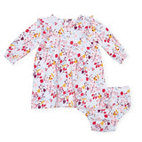 Pom pom organic cotton magnetic dress + diaper cover