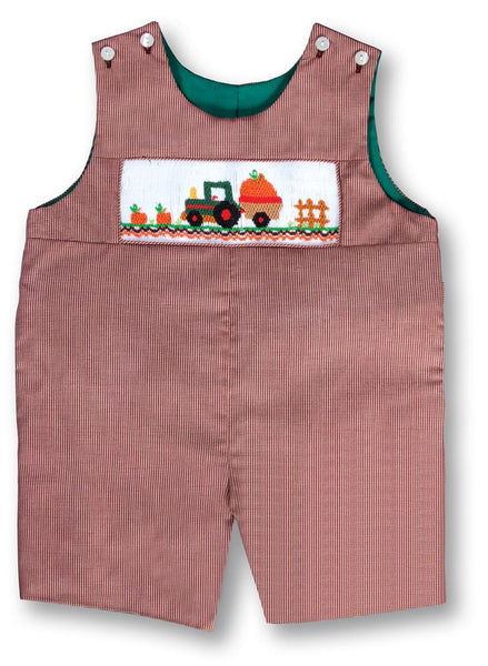 Reversible Romper with Tractor and Pumpkin
