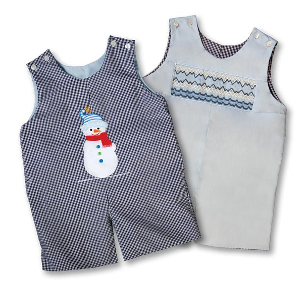 Reversible Blue English Smocking and Snowman