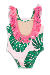 PINK BOTANICAL FRINGE BACK SCOOP SWIMSUIT