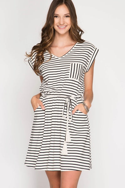 Short Sleeve Striped Dress w/ Cotton Tassel Belt