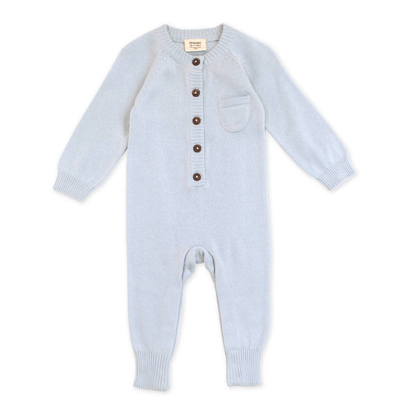 Sweater Knit Button Coverall Romper