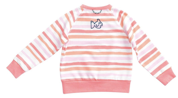 Girls Striped Crew Sweatshirt