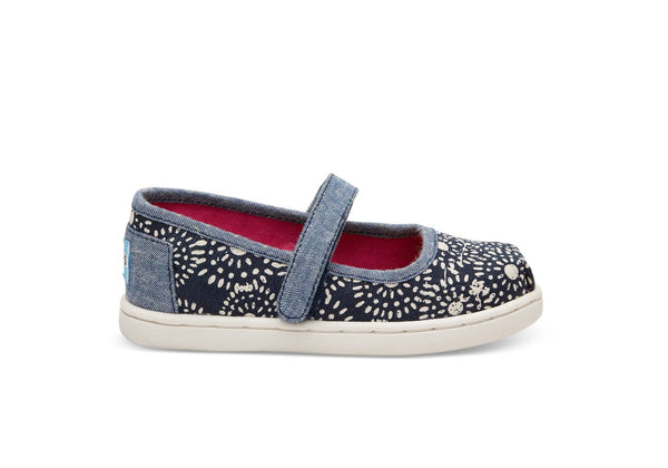 TOMS Navy Shibori Dots Mary Janes