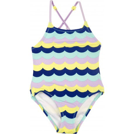 Bright Waves Open Back Swimsuit