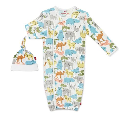 Zoo Crew Organic Cotton Magnetic Gown Set