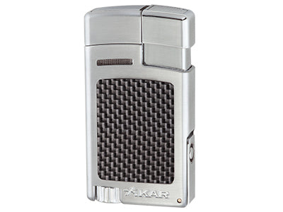 Xikar - Forte Silver carbon fibre Single Jet Flame cigar lighter