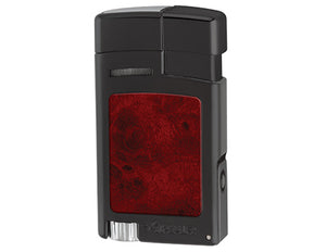 Xikar - Forte Soft Flame cigar & pipe lighter (Black w/Burl inserts)