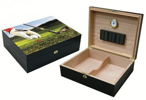 9-Iron - Vivid 3D Golf Scene Humidor with Black Satin Finish (~75 count)