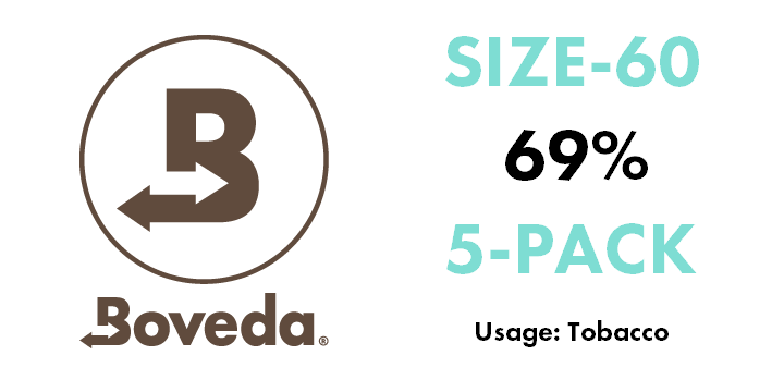 Boveda 69% (SIZE 60) 2-Way Humidity Control Pack (5-pack)