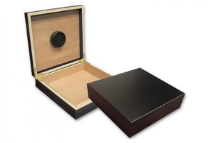 The Chateau small desktop humidor in Black finish (~20 count)