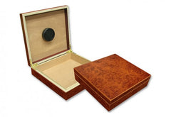 The Chateau small desktop humidor in Burl Wood finish (~20 count)