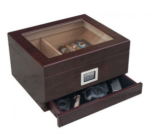 The Chalet Glasstop desktop humidor with Storage drawer in Cherry wood finish (~25-50 count)