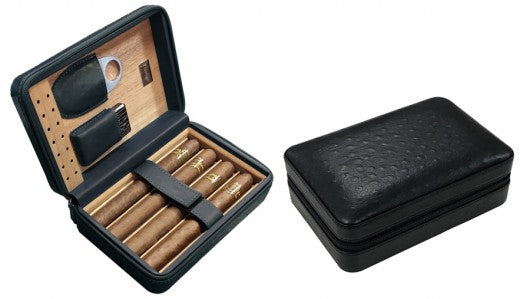 Black Ostrich Motif Leather 5 Cigar Travel Humidor case with Accessories