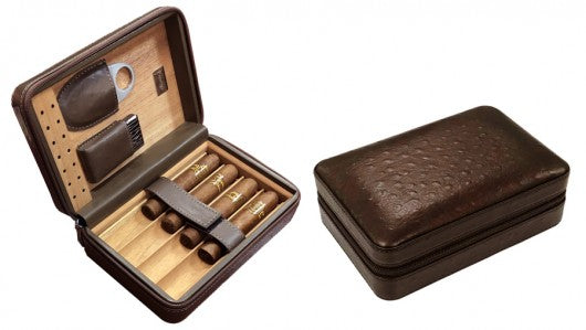 Brown Ostrich Motif Leather 5 Cigar Travel Humidor case with Accessories