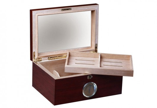 The Berkeley Glass Top Desktop Humidor (~100 count)