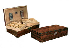 The Salvador - Polished lacquer finish with dual-trays & silver feet desktop humidor (~250 count)
