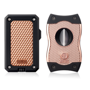 Colibri - Rally Single-jet flame cigar lighter + SV Cut cigar cutter combo (Black-Rose Gold)