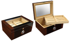 The Berkeley II Glass Top Desktop Humidor (~100 count)