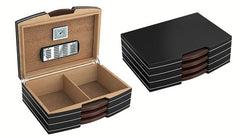 The Carlton - Polished Steel Accented Black Desktop Humidor w/Silver hardware (~100 count)