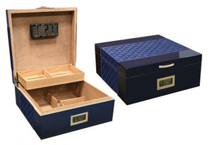 Hampton Royal Blue - Diamond Pattern Bonded Leather Top & Sides w/ Silver Accent Stitching desktop humidor (~200 count)