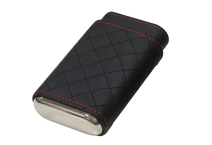 3 Cigar Diamond Stitch Leather Case (Black)
