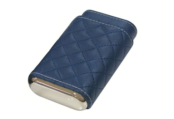 3 Cigar Diamond Stitch Leather Case (Blue)