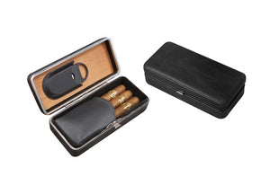 Black Leather 3 Cigar folding Case