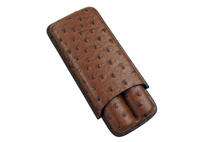 Brown Ostrich 2 Cigar Case