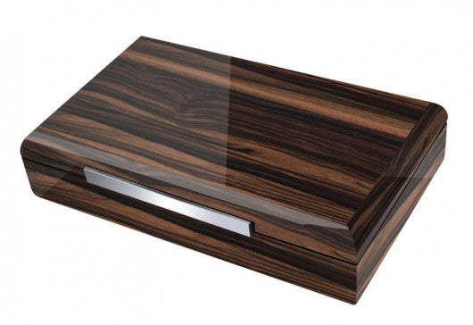 The Vanderbilt- Lacquered Ebony Wood Desktop Humidor w/Dividers (~120 count)
