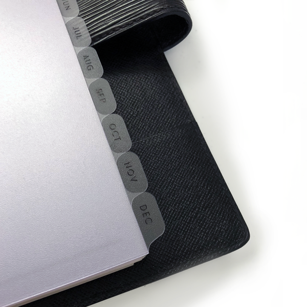 Clear frosted black foil dividers, Monthly Index Tabs for A5 Planners