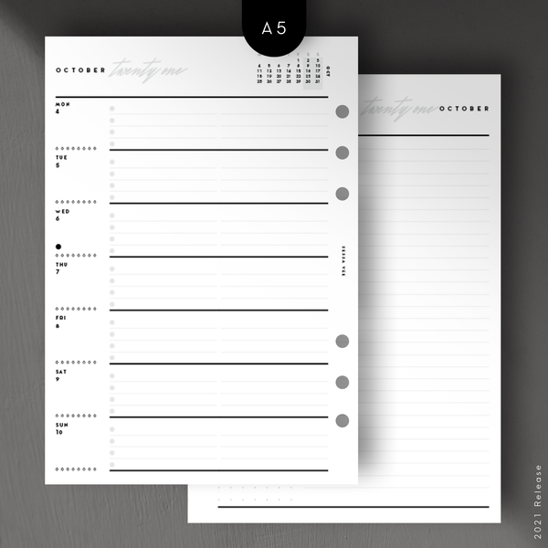 Weekly Planner Inserts -  A5 Size - Wo1P with Notes Page