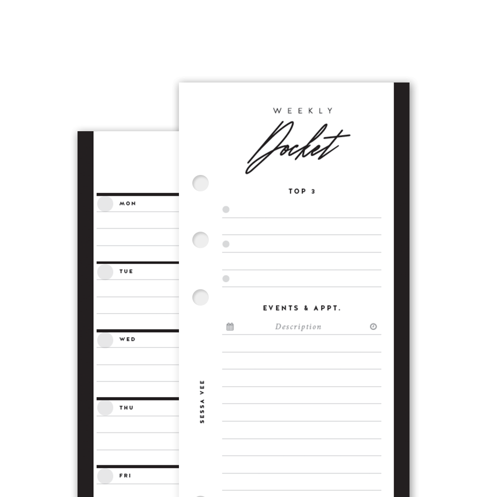 Weekly Docket w/ Overview - A5 Half Sheet - Planner Inserts