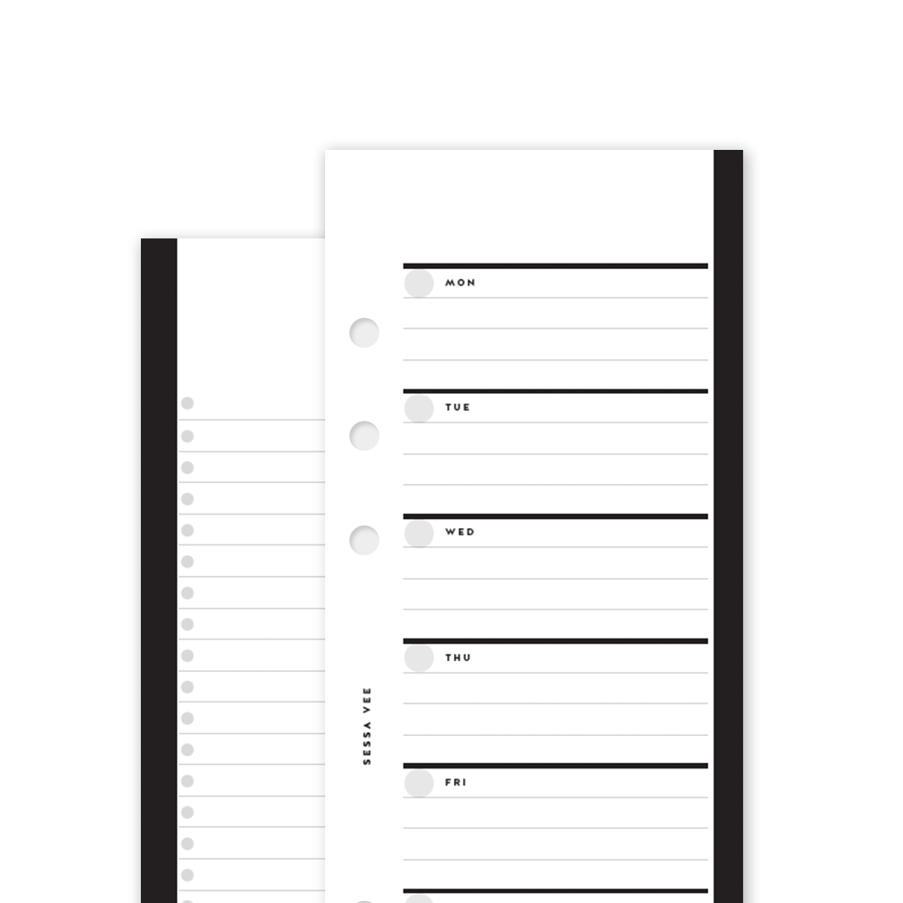 Weekly Overview A5 Half Sheet Planner Inserts Sessa Vee