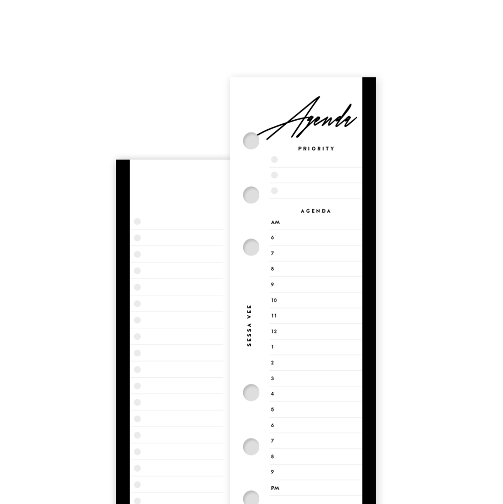 Daily Agenda - Personal Size Half Sheet - Planner Inserts