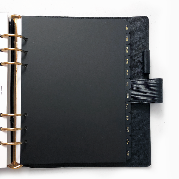 Black Monthly Dividers, Gold Foiled Plastic Index Tabs