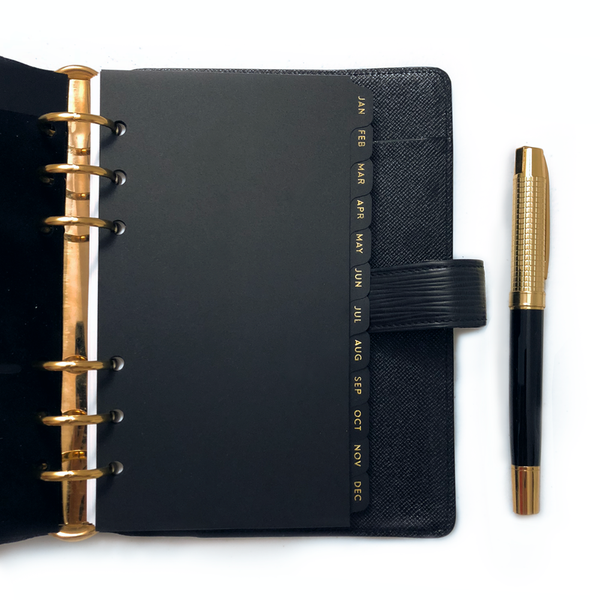 Tab Dividers, Monthly - Personal Size - Black w/ Gold Foil