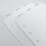 6 Top Tab Dividers - Personal Size - Frosted