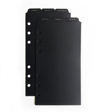 6 Top Tab Dividers - Personal Size - Black