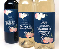 "Navy ""Be My Bridesmaid"" Wine Label"