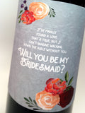 Dusty Blue Be My Bridesmaid Wine Label | Bridesmaid Proposal Gift