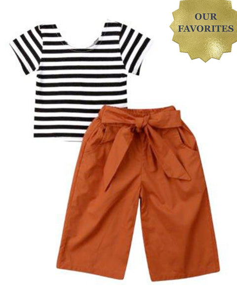 Bowknot Pants & Striped Shirt for Babies & Children