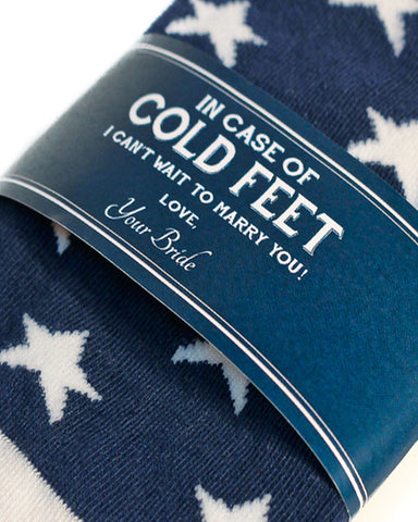 Cold Feet Label with American Flag Socks ©