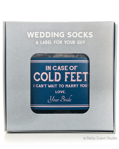 Cold Feet Navy & Blush Label with Socks ©