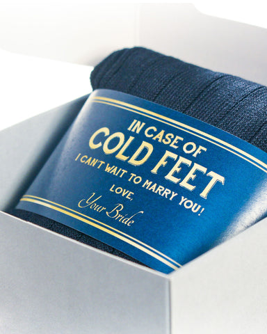 Cold Feet Navy & Gold Label with Socks ©