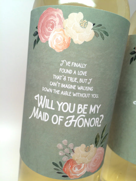 Sage Green Will You Be My Bridesmaid Label- for Wine Bottles & Candles
