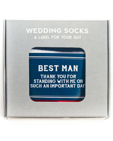 Best Man Thank You | Navy Label with American Flag Socks ©