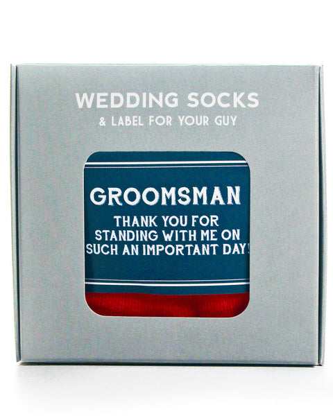 Groomsman Thank You | Navy Label with American Flag Socks ©