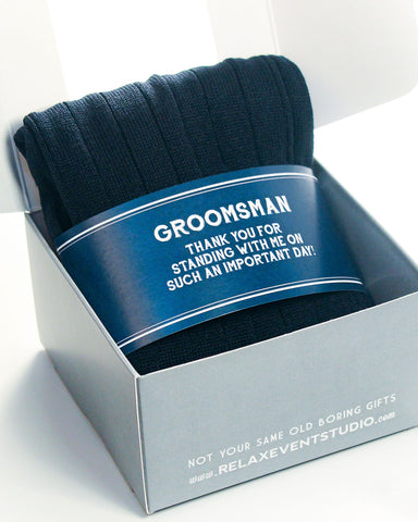 Navy Groomsman Thank You Label with Socks ©
